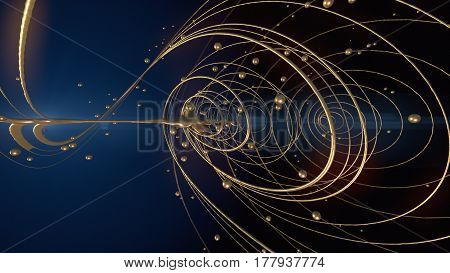 Abstract gold shiny shapes streaks 3d rendering effect background