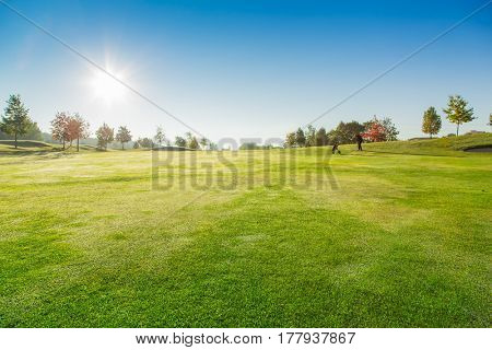 Golf Course with blue sky at Sunrise.
