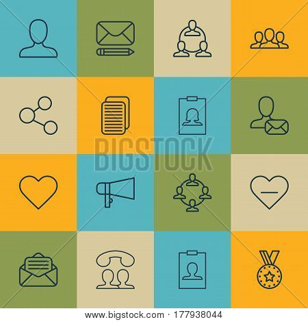 Set Of 16 Social Icons. Includes Online Letter, Identity Card, Web Profile And Other Symbols. Beautiful Design Elements.