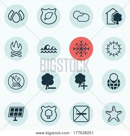 Set Of 16 Eco-Friendly Icons. Includes Bonfire, Ocean Wave, House And Other Symbols. Beautiful Design Elements.