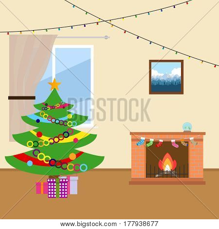 New Year tree near the fireplace. Flat design vector illustration vector.