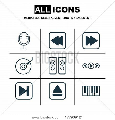 Set Of 9 Music Icons. Includes Skip Song, Audio Buttons, Rewind Back And Other Symbols. Beautiful Design Elements.