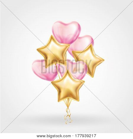 Heart Gold star balloon on background. Frosted party balloons event design. Balloons isolated air. Party decorations wedding, birthday, celebration, love, valentines. Shine transparent star balloon