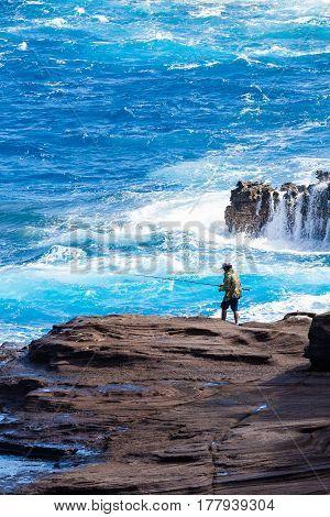 hawaiian fisherman in lava beach oahu hawaii