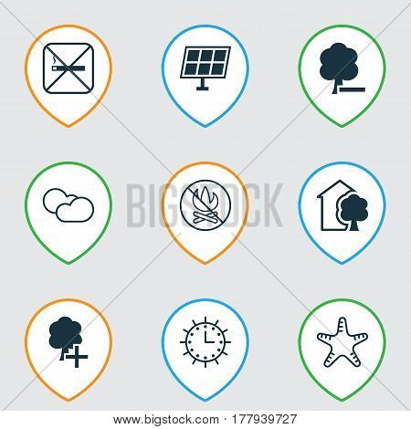 Set Of 9 Eco-Friendly Icons. Includes House, Cloud Cumulus, Sun Clock And Other Symbols. Beautiful Design Elements.