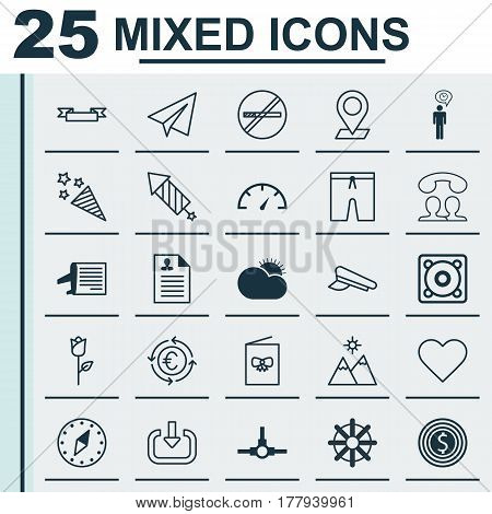 Set Of 25 Universal Editable Icons. Can Be Used For Web, Mobile And App Design. Includes Elements Such As Cop Cap, Firecracker, Music And More.