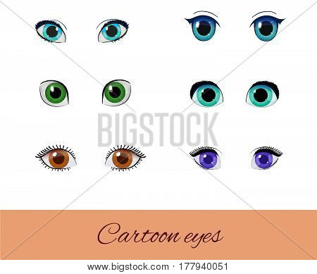 Set of cartoon eyes. Collection of vector different eyes. Green blue brown and purple peepers isolated on white.