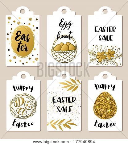 Set of golden glitter Easter tags for holiday sale