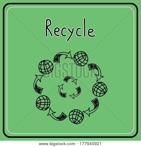 Sketch doodle recycle reuse symbol. Hand drawn vector recycle icon. Recycle sign for ecological design