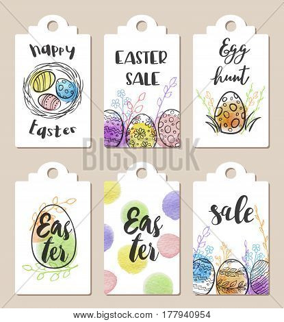 Set of white Easter tags for holiday sale with watercolor textures