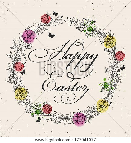 Vintage greeting card for Easter with floral frame. Hand drawn vector illustration with watercolor elements.