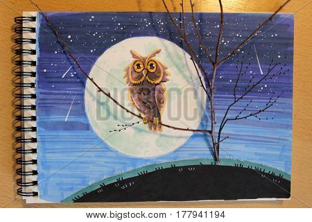 Illustration on a notepad with a binding: an eagle owls on a tree branch against the background of the moon. Night sky and a starfall