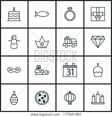 Set Of 16 Happy New Year Icons. Includes Winter, Fishing, Sleigh And Other Symbols. Beautiful Design Elements.