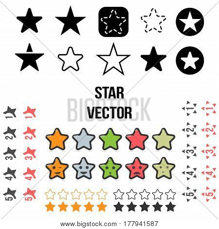 Star Set Icons. Vector illustration isolated on white background.