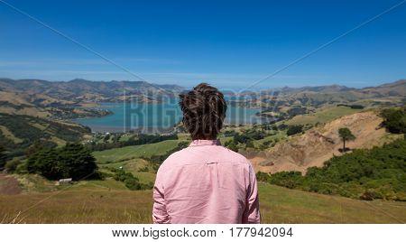 Man enjoying view, New Zealand