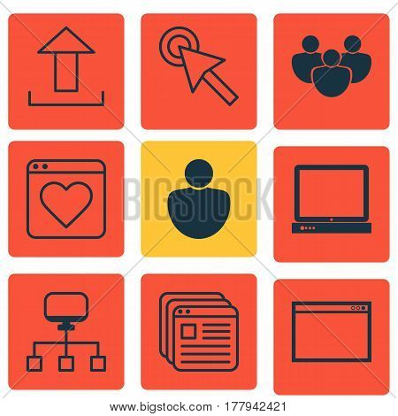 Set Of 9 Internet Icons. Includes Send Data, Followed Website, PC And Other Symbols. Beautiful Design Elements.