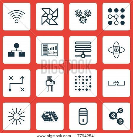 Set Of 16 Machine Learning Icons. Includes Information Base, Solution, Mechanism Parts And Other Symbols. Beautiful Design Elements.