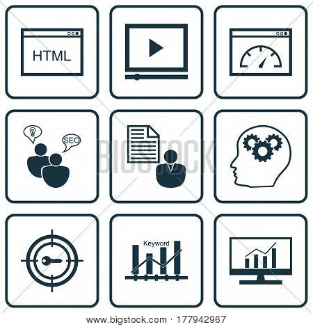 Set Of 9 SEO Icons. Includes Video Player, Keyword Optimisation, Intellectual Process And Other Symbols. Beautiful Design Elements.