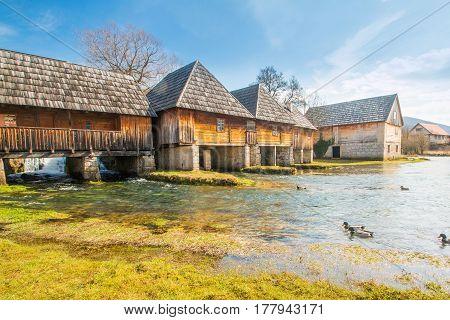 Beautiful countryside landscape in Lika, water mills, Majerovo vrilo, Croatia