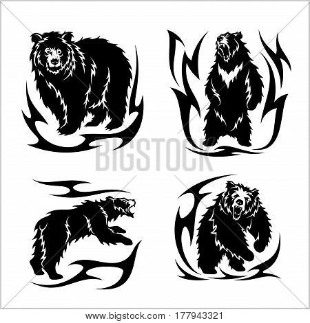 Wild bears ina tribal style isolated on white. Vector illustration.