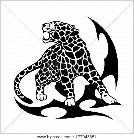 Jaguar Flame Tattoo isolated on white. Vector illustration.