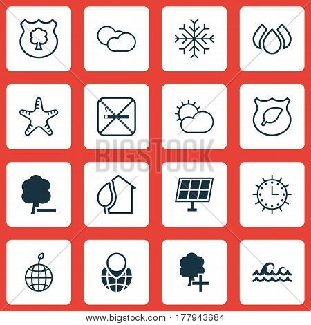 Set Of 16 Eco Icons. Includes Timber, Cigarette, Guard Tree And Other Symbols. Beautiful Design Elements.