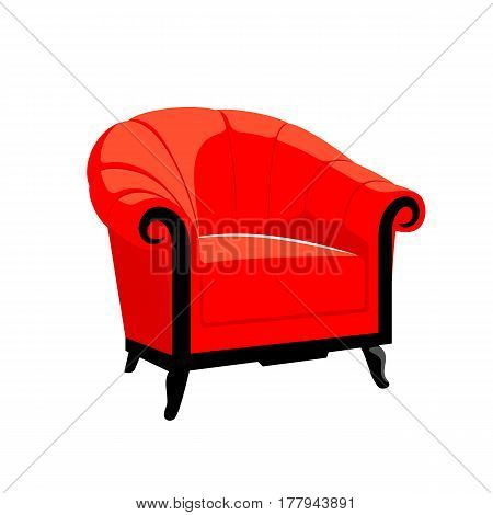 Classic Royal armchair. Classic French Baroque furniture. Rococo armchair vector illustration isolated on white