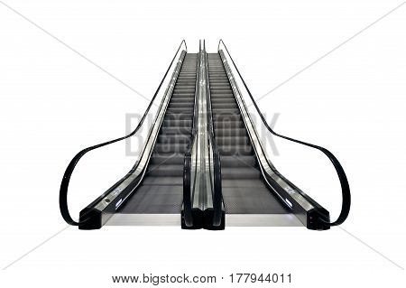 The Escalator moving isolated on white background.Object isolated with clipping path