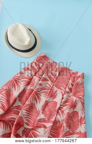Hat with Floral,palm skirt for women-blue background