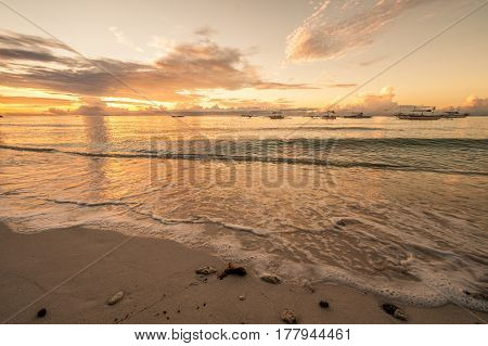Alona tropical beach sunset at Panglao, Philippines