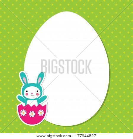 Easter egg greeting card with a bunny, space for text