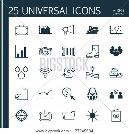 Set Of 25 Universal Editable Icons. Can Be Used For Web, Mobile And App Design. Includes Elements Such As PPC, Recurring Payements, Increasing Line Chart And More.