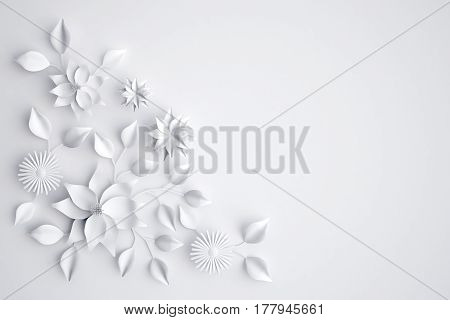 White paper flowers background, wedding decoration, greeting card, 3D illustration