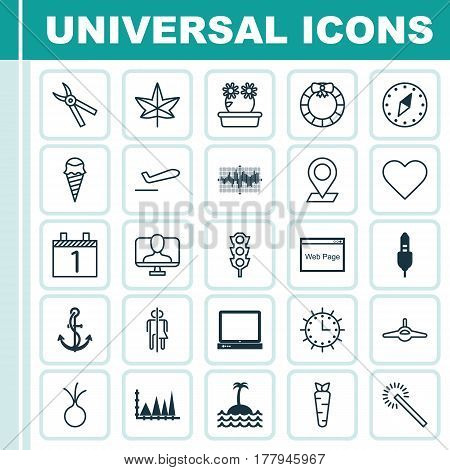 Set Of 25 Universal Editable Icons. Can Be Used For Web, Mobile And App Design. Includes Elements Such As Floweret, Reef, Pinpoint And More.