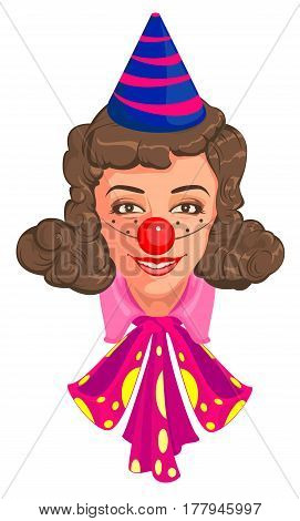 Head Woman mom in clown attire. Isolated on white vector cartoon illustration