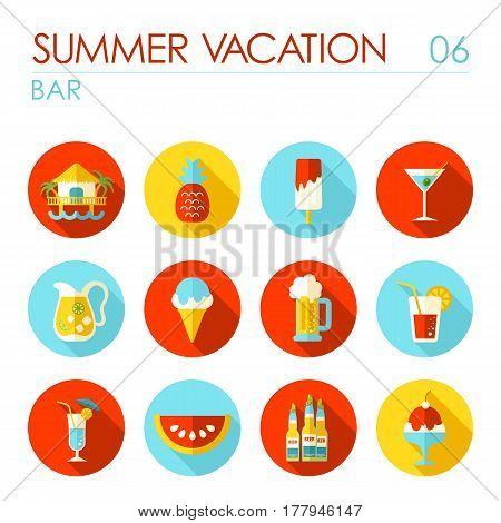Bar beach vector flat icon. Summer time. Vacation