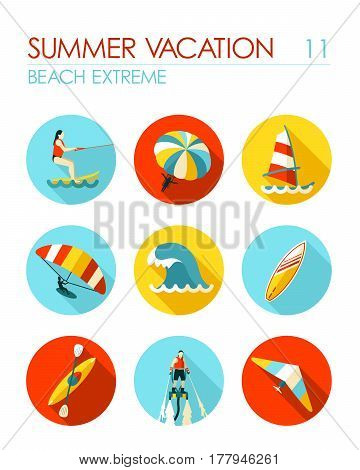 Extreme Water Sport beach vector flat icon set. Summer time. Vacation