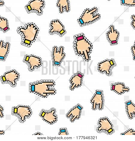 Vector seamless pattern with Thumbs down, Two fingers sign, middle finger icon. Background of fuck you, rebel, furious words, indecent gestures. Pixel art trendy design vector illustration for print or web