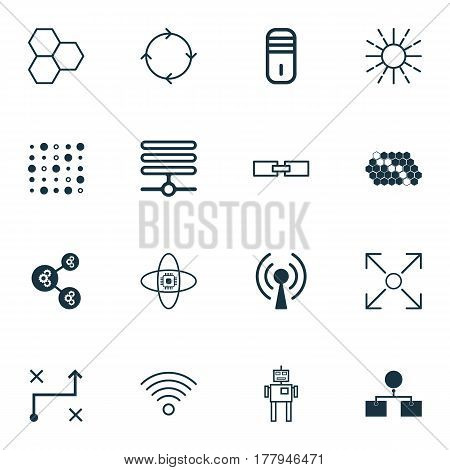 Set Of 16 Machine Learning Icons. Includes Related Information, Branching Program, Radio Waves And Other Symbols. Beautiful Design Elements.
