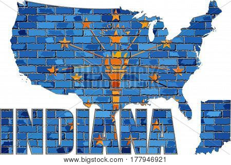 Indiana on a brick wall with effect - 3D Illustration