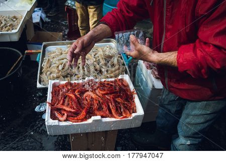 fresh raw seafoods on counter in Catania fish market Italy