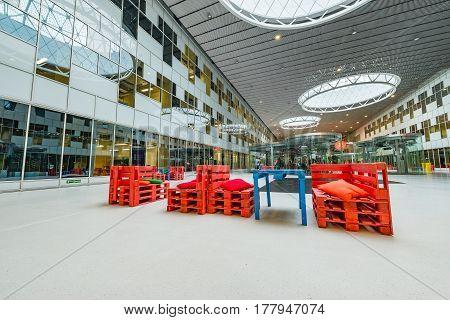 Skolkovo Russia - March 01 2017: Interior of the new building in Skolkovo Technopark.