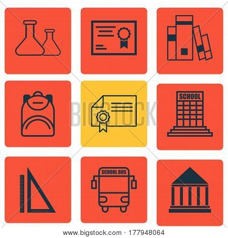Set Of 9 School Icons. Includes Diploma, Chemical, Haversack And Other Symbols. Beautiful Design Elements.