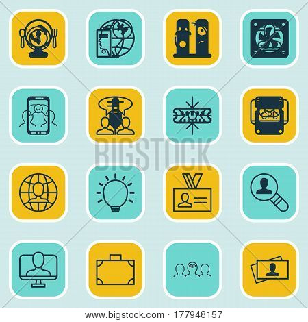 Set Of 16 Business Management Icons. Includes Cooperation, Business Aim, Email And Other Symbols. Beautiful Design Elements.