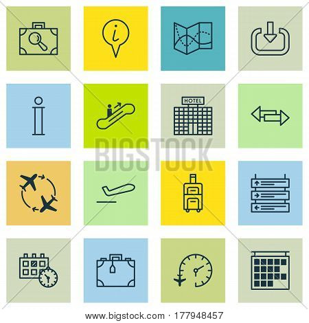 Set Of 16 Traveling Icons. Includes Info Pointer, Plane Schedule, Travel Clock And Other Symbols. Beautiful Design Elements.