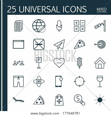 Set Of 25 Universal Editable Icons. Can Be Used For Web, Mobile And App Design. Includes Elements Such As Trading, Roadsign, Sunshine And More.