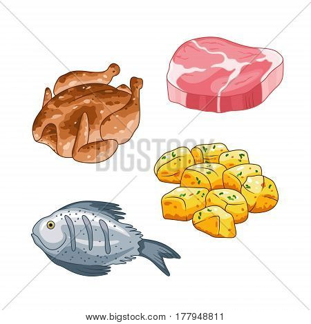 Food and meal vector set in cartoon style. Meat steak, chicken fish and potatoes illustration. Single objects Isolated on white.