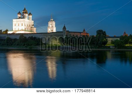 Ancient Pskov Kremlin and river Velikaya at twilight, Russia