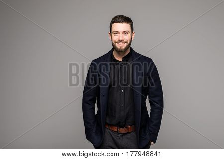 Confident Stylish Business Man With Beard In Suit
