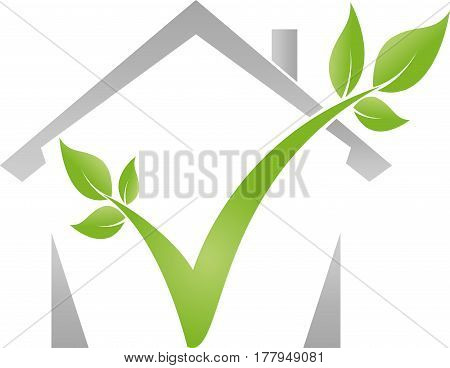 House and plant, eco house, real estate and nature logo